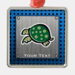 Cute Turtle; Metal-look Christmas Ornament