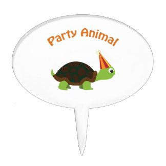 Cute Turtle Party Animal Cake Topper