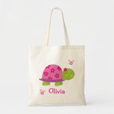Cute Turtle Personalized Bag Tote For Girl at Zazzle
