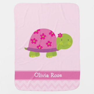 Cute Turtle Personalized Blanked for Girls Receiving Blanket