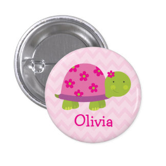 Cute Turtle Personalized Button for Girls