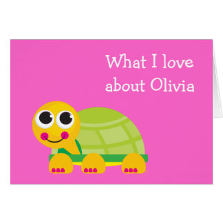 Cute Turtle Personalized Notecard for Kids