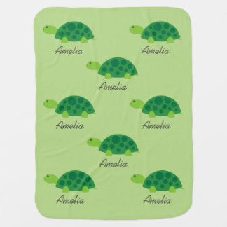 Cute turtle personalized receiving baby blanket