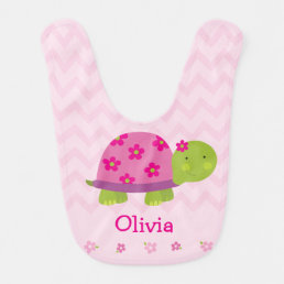 Cute Turtle Pink Personalized Bib