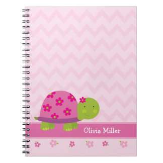 Cute Turtle Pink Personalized Notebook for Girls