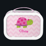 """Cute Turtle Pink Personalized Yubo Lunchbox<br><div class=""""desc"""">Your child will love carrying their own personalized cute pink Turtle lunchbox to school or just about anywhere!  Cute Turtle with pink flowers and chevron zigzag pattern,  personalized name.</div>"""