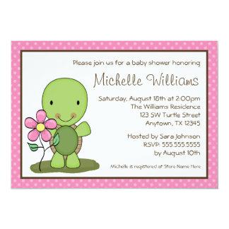 Cute Turtle Pink Polka Dot Baby Shower Card