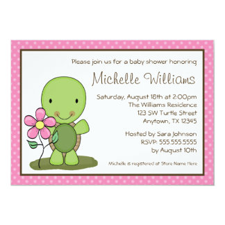 Cute Turtle Pink Polka Dot Baby Shower 5x7 Paper Invitation Card