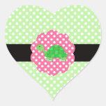 Cute turtle polka dots green heart sticker
