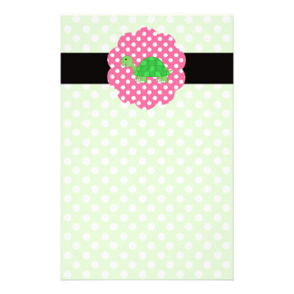 Cute turtle polka dots green stationery paper