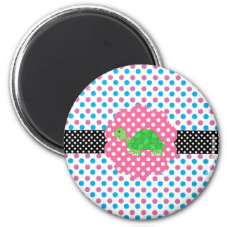 Cute turtle polka dots 2 inch round magnet