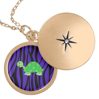 Cute turtle purple zebra stripes custom necklace