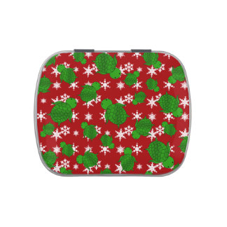 Cute turtle red snowflakes jelly belly tins