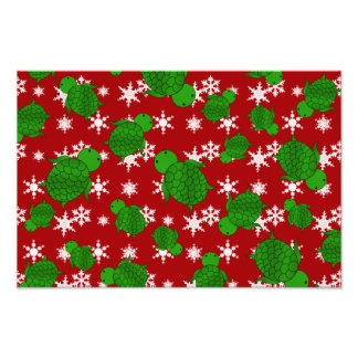 Cute turtle red snowflakes photo