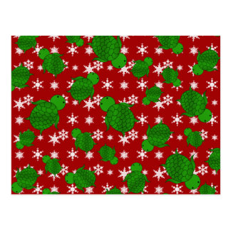 Cute turtle red snowflakes postcard