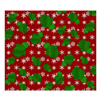 Cute turtle red snowflakes posters