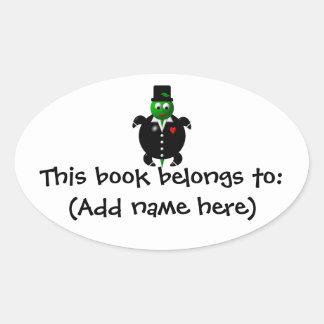 Cute turtle wearing a tuxedo! oval sticker