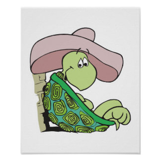 cute turtle wearing sombrero poster