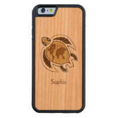 Cute Turtle World Map Cherry Personalized Carved® Cherry Iphone 6 Bumper at Zazzle