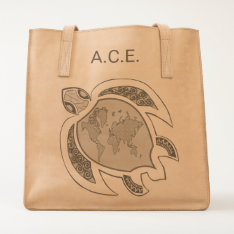 Cute Turtle World Map Personalized Tote at Zazzle
