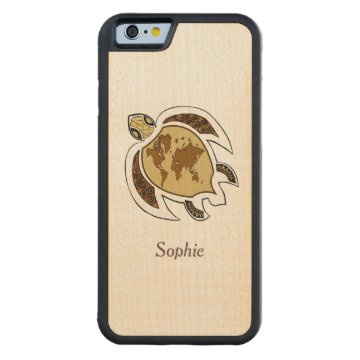 Cute Turtle World Map Personalized Carved® Maple iPhone 6 Bumper Case at Zazzle