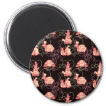 Cute Turtles Black and Pink Pattern Magnet