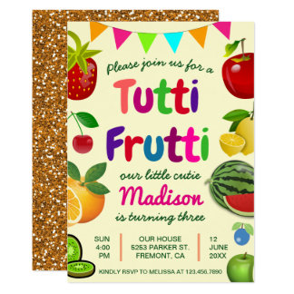 Cute Tutti Frutti Summer Birthday Party Invitation