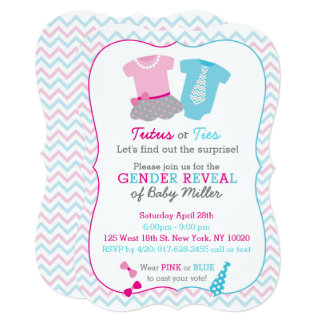 Cute Tutus Or Ties Gender Reveal Card