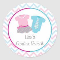Cute Tutus Or Ties Gender Reveal Classic Round Sticker