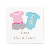 Cute Tutus Or Ties Gender Reveal Paper Napkin