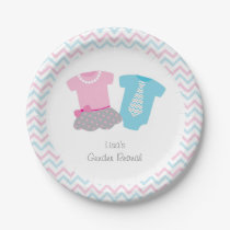 Cute Tutus Or Ties Gender Reveal Paper Plate