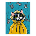 Cute Tuxedo Cat and Raining Mice Illustration Postcard
