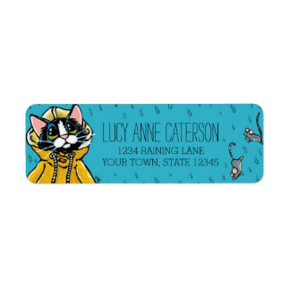 Cute Tuxedo Cat and Raining Mice Personalized Label