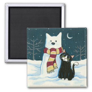 Cute Tuxedo Cat and Snowman Painting Magnet