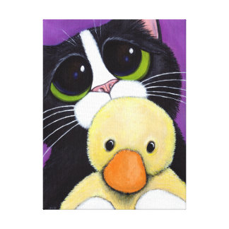 Cute Tuxedo Cat and Toy Duck 12x16 Wrapped Canvas