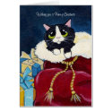Cute Tuxedo Cat in Santa's Sack Christmas Card