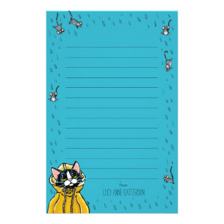 Cute Tuxedo Cat & Raining Mice Lined Personalized Stationery