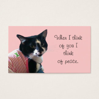 Cute Tuxedo Cat Think of Peace Business Cards