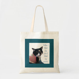 Cute Tuxedo Cat Think of Peace Canvas Bags