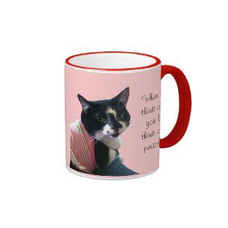 Cute Tuxedo Cat Think of Peace Custom Mugs