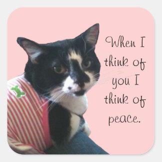 Cute Tuxedo Cat Think of Peace Custom Stickers