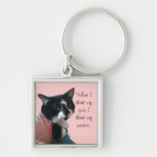 Cute Tuxedo Cat Think of Peace Keychains