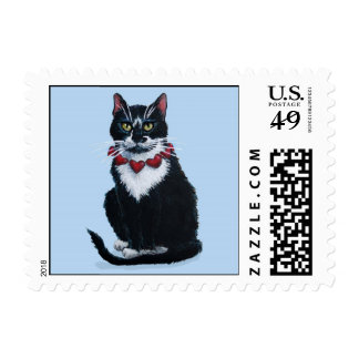 Cute tuxedo cat with hearts postage stamps