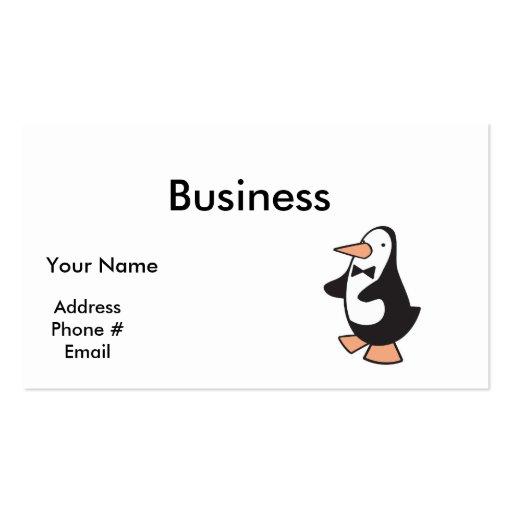 cute tuxedo penguin business card template