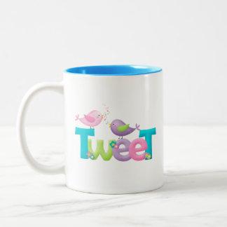 Cute Tweet Birds Two-Tone Coffee Mug