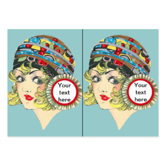 Cute Twenties Flapper Girl with Cherries Tags Large Business Cards (Pack Of 100)