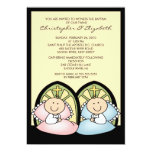 Cute Twin Boy & Girl Baptism Christening Inviation Custom Invitations