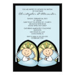 Cute Twin Boys Baptism Christening Inviation Personalized Announcement