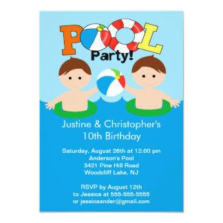 "CUTE Twin Boys Pool Party Birthday Invitation 5"" X 7"" Invitation Card"