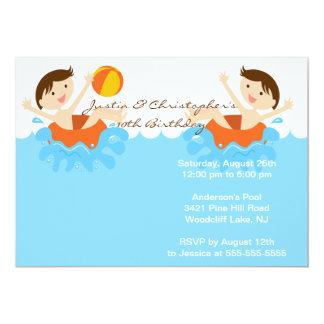 CUTE Twin Boys Pool Party Birthday Invitation